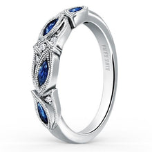 "Load image into Gallery viewer, Kirk Kara ""Dahlia"" Blue Sapphire Marquise Leaf Shaped Designed Wedding Band"