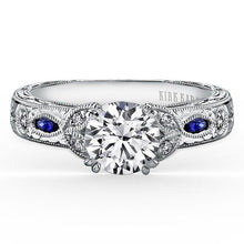 "Load image into Gallery viewer, Kirk Kara ""Dahlia"" Marquise Cut Blue Sapphire Diamond Engagement Ring"