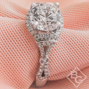 Kirk Kara Lori Round Cut Hidden Halo Diamond Engagement Ring