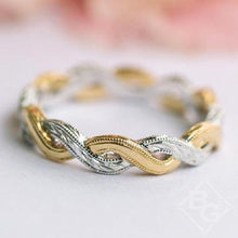 "Load image into Gallery viewer, Kirk Kara ""Pirouetta"" Twist Two-Tone Gold Eternity Wedding Band"
