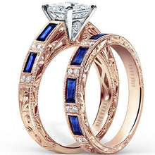 Load image into Gallery viewer, Kirk Kara Rose Gold Charlotte Blue Sapphire Baguette Engagement Ring
