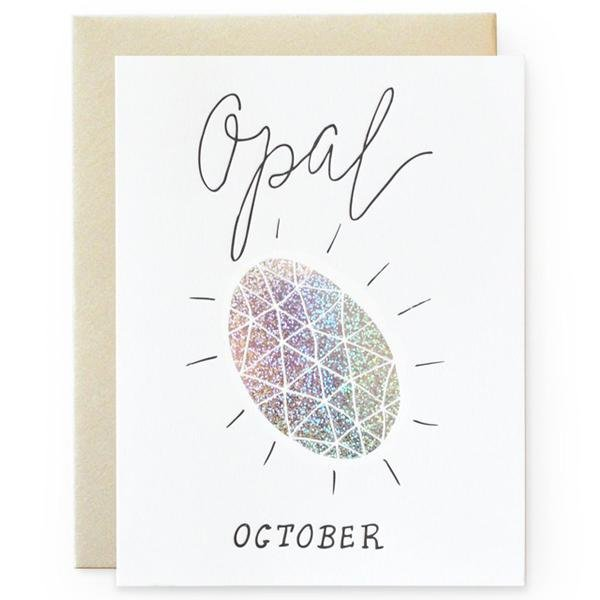 Opal Gemstone Greeting Card - October Birthday