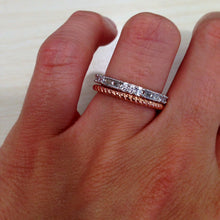 "Load image into Gallery viewer, Gabriel 14K Rose Gold ""Rope"" Texture Stackable Ring on Hand"
