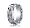Benchmark 8MM 14K White Gold Mens Wedding Band With Satin Finish
