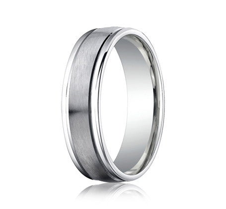 Benchmark 6 MM 10K White Gold Comfort Fit Carved Wedding Band With Satin Center