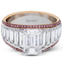 Load image into Gallery viewer, Simon G. 18K White and Rose Gold Large Center Emerald Cut Diamond Baguette Engagement Ring