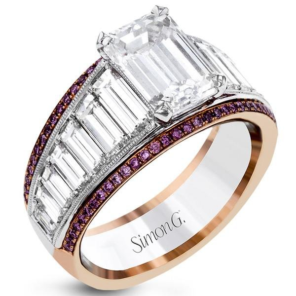 Simon G. 18K White and Rose Gold Large Center Emerald Cut Diamond Baguette Engagement Ring