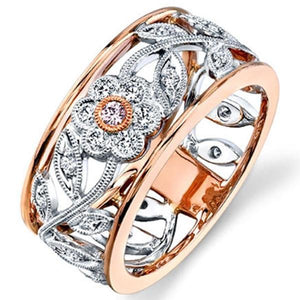 Simon G. 18K White and Rose Gold Vintage Style Flower Ring