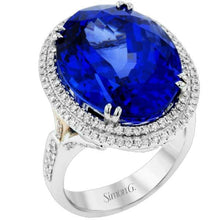 Load image into Gallery viewer, Simon G. 18K White Gold Large Oval Tanzanite Diamond Halo Ring