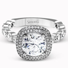 Load image into Gallery viewer, Simon G. Double Cushion Halo Diamond Engagement Ring