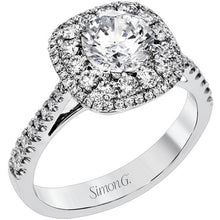 Load image into Gallery viewer, Simon G. Double Cushion Shaped Halo Diamond Engagement Ring