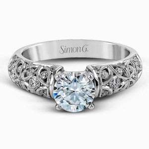 Simon G. Filigree Vintage Style Diamond Engagement Ring