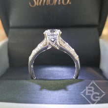 "Load image into Gallery viewer, Simon G. Large Center ""Simon Set"" Horizontal Baguette Diamond Engagement Ring"
