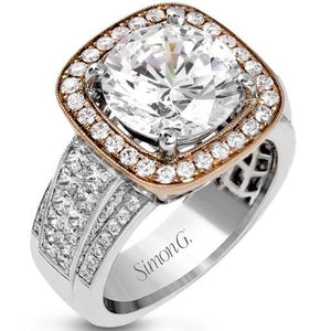Simon G. Large Diamond Center Two-Tone Halo Prong Set Engagement Ring
