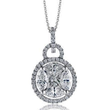 "Load image into Gallery viewer, Simon G. Round Halo Diamond Cluster Pendant with ""Simon Set"" Diamonds"