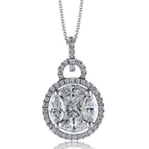 "Simon G. Round Halo Diamond Cluster Pendant with ""Simon Set"" Diamonds"