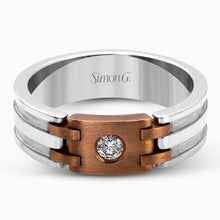 Load image into Gallery viewer, Simon G. Two-Tone Gold Diamond Wedding Band