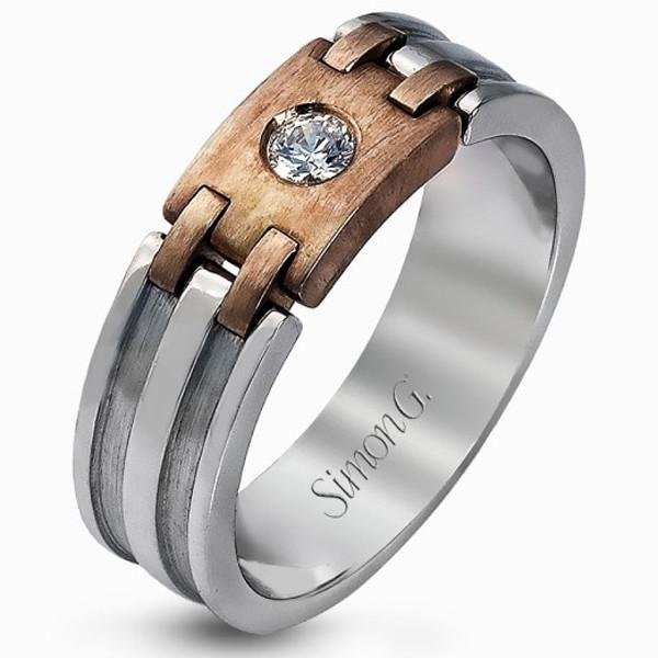Simon G. Two-Tone Gold Diamond Wedding Band