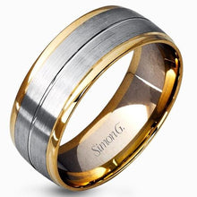 Load image into Gallery viewer, Simon G. Two-Tone Satin & High Polish Finish Wedding Band