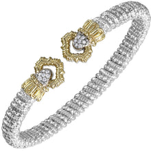 Load image into Gallery viewer, Vahan Sterling Silver & 14K Yellow Gold Diamond Gold Bangle Bracelet