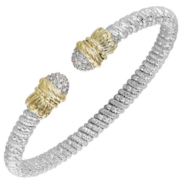 Vahan Sterling Silver & 14K Yellow Gold Pave Set Diamond Bangle Bracelet