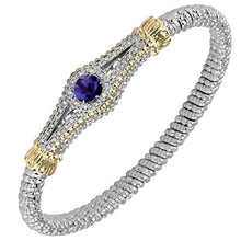 Load image into Gallery viewer, Vahan Sterling Silver & 14K Yellow Gold Purple Iolite Art Deco Style Bracelet