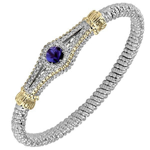 Vahan Sterling Silver & 14K Yellow Gold Purple Iolite Art Deco Style Bracelet