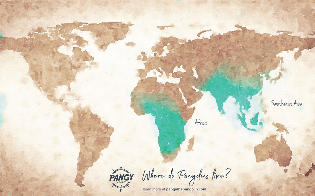 Where pangolins live world map