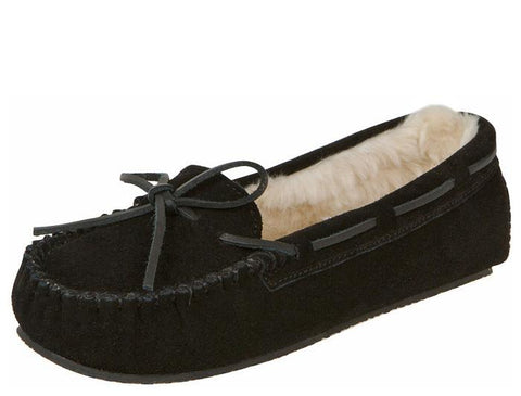 Minnetonka Womens Cally Slipper Black Angle 1
