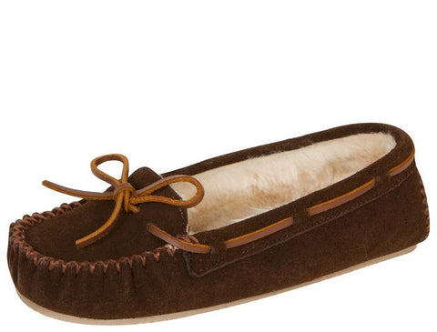 Minnetonka Womens Cally Slipper Suede Chocolate Angle 1