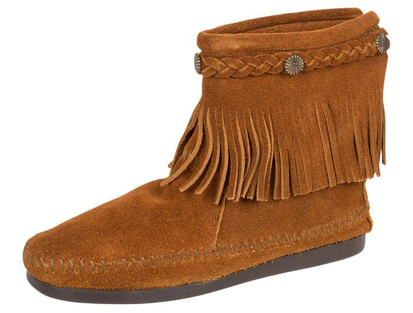 Minnetonka Womens Back Zip Boot Hi Suede Brown Angle 1