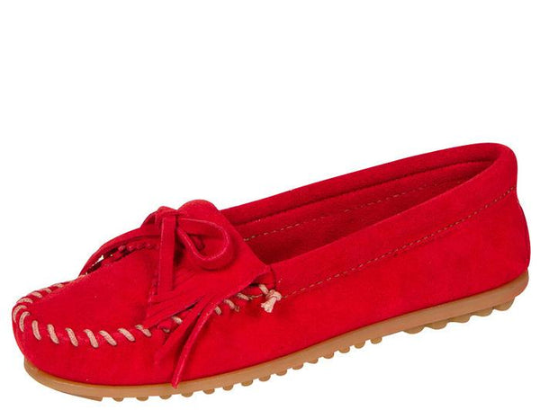 Minnetonka Womens Kilty Suede Moc Red Angle 1