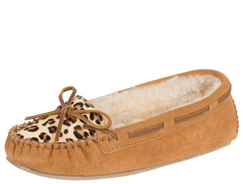 Minnetonka Womens Cally Slipper Leopard Cinnamon Angle 1