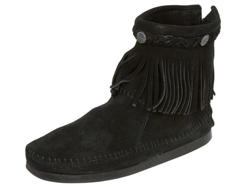 Minnetonka Womens Back Zip Boot Hi Suede Black Angle 1