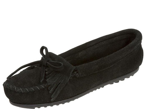 Minnetonka Womens Kilty Suede Moc Black Angle 1