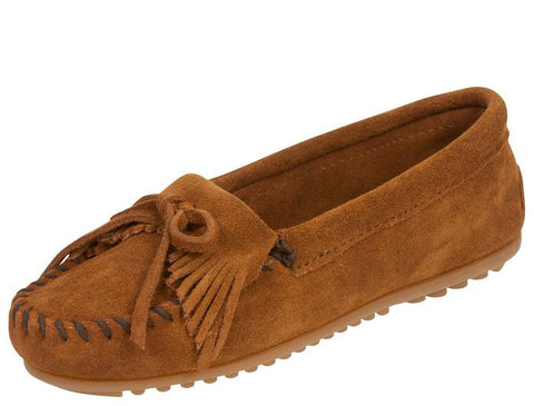 Minnetonka Womens Kilty Suede Moc Brown Angle 1