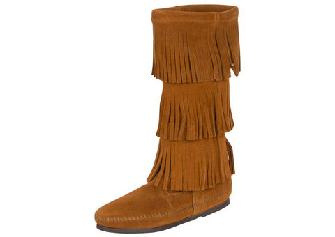 Minnetonka Womens Calf Hi 3 Layer Fringe Suede Brown Angle 1