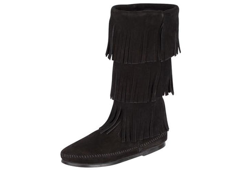Minnetonka Womens Calf Hi 3 Layer Fringe Black Angle 1