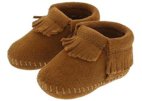 Minnetonka Infants Riley Bootie Suede Brown Angle 1