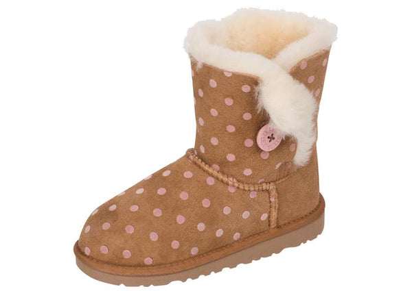 UGG Childrens Bailey Button Polka Dot Chestnut Angle 1