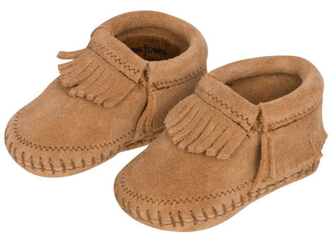 Minnetonka Infants Riley Bootie Suede Cinnamon Angle 1