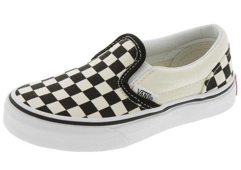 Vans Childrens Classic Slip On Checkerboard Black White Angle 1