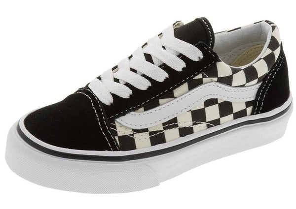 Vans Childrens Old Skool Primary Checkerboard Black White Angle 1