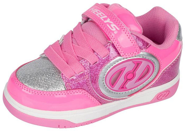 Heelys Kids Plus X2 Lighted Neon Pink Light Pink Silver Angle 1