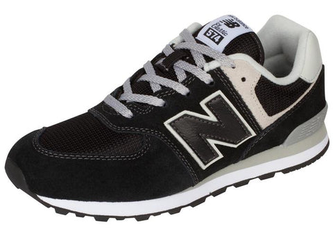 New Balance Kids 574 Black Grey Angle 1