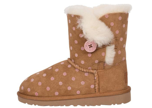 UGG Childrens Bailey Button Polka Dot Chestnut Angle 2