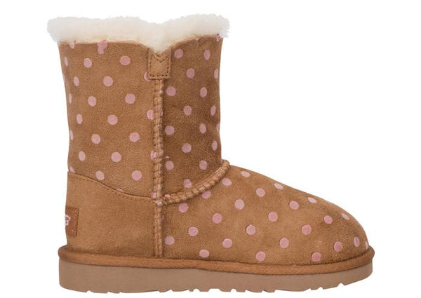 UGG Childrens Bailey Button Polka Dot Chestnut Angle 4
