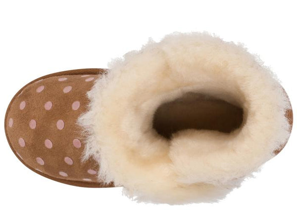 UGG Childrens Bailey Button Polka Dot Chestnut Angle 3