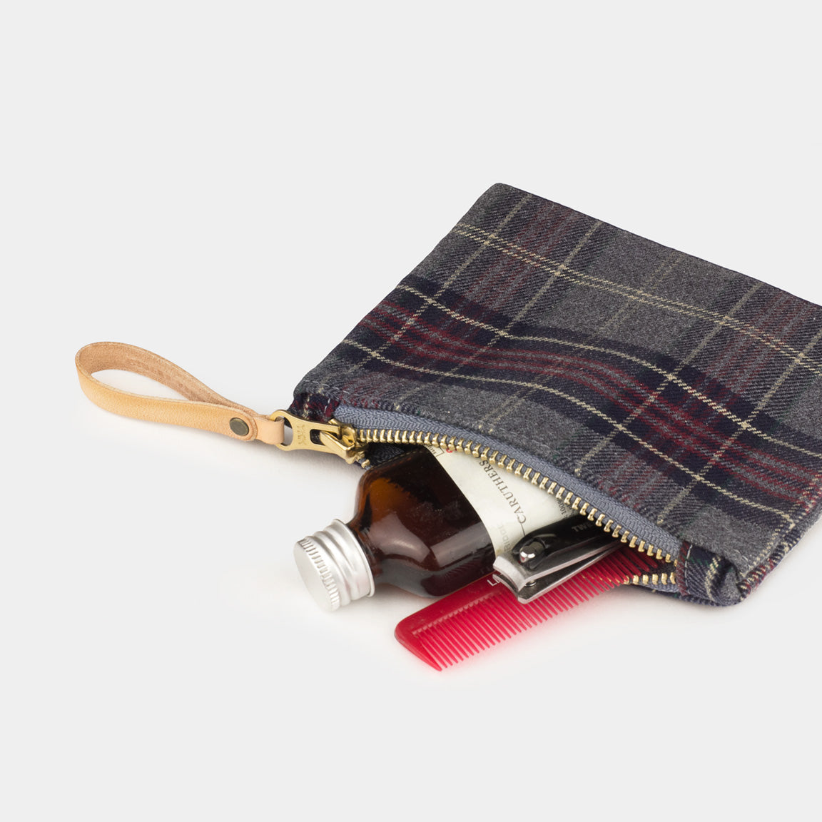 Winter Session Plaid Series Zip Pouch Waxed Canvas Flannel