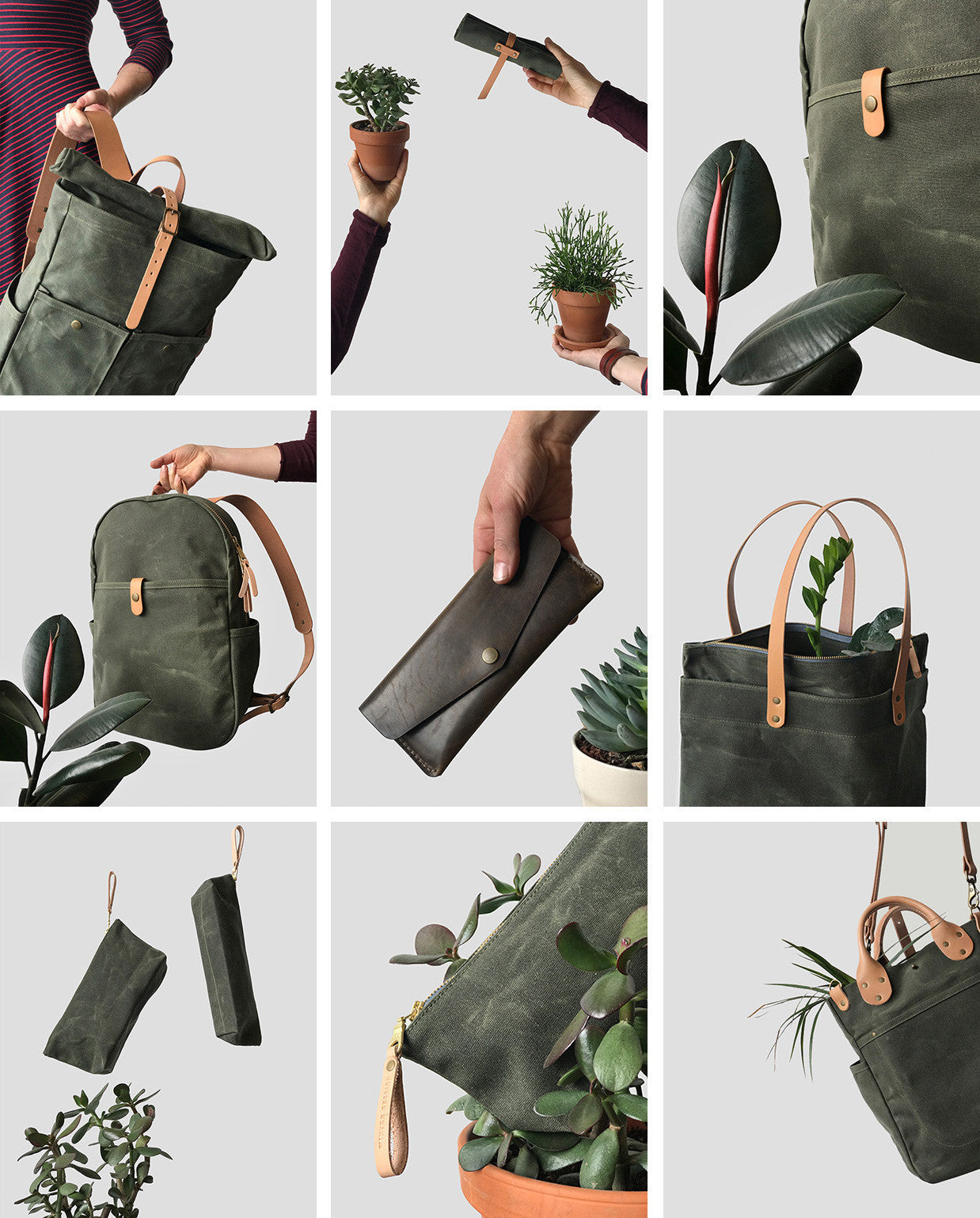 Winter Session Waxed Canvas Bags / Olive Collection